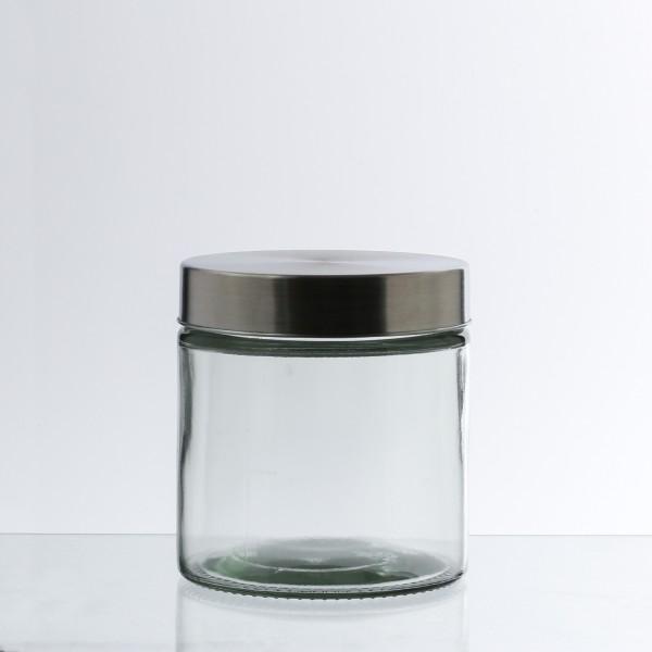 Vorratsdose S - Glas mit Edelstahldeckel - 0,85 Liter - D:11cm - H: 12cm