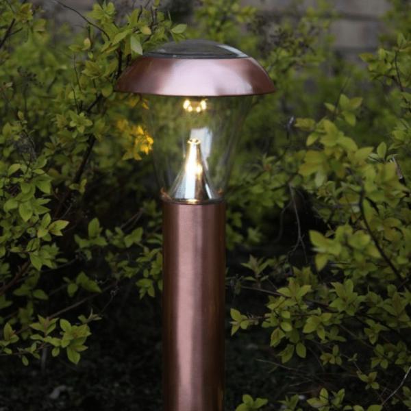 """LED-Solar-Wegleuchte """"Napoli"""" - kupferfarben - warmweiße LED - H: 36cm - D: 15,5cm - Dämmerungssensor"""