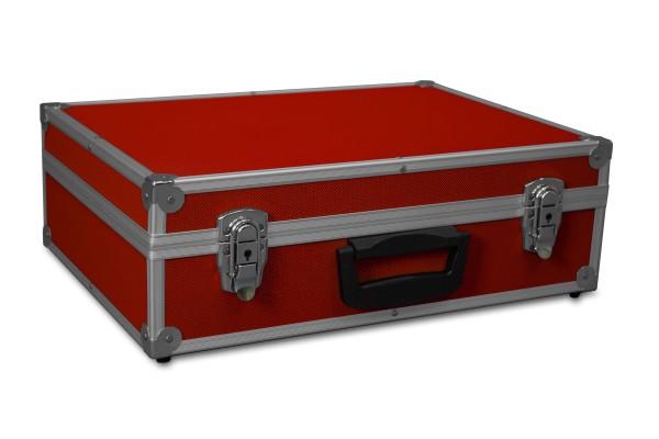 GORANDO® Transportkoffer rot | Alurahmen | 440x300x130mm | Für Werkzeuge, Kameras, Messgeräte etc.