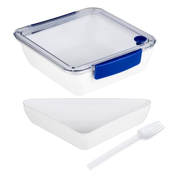 Lunchbox mit Gabel - 2 Fächer - 18,5 x 18,5 x 5cm - 1000ml - blau
