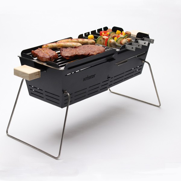 KNISTER Grill ORIGINAL - mobiler Holzkohlegrill - MADE IN GERMANY - 28-49x20cm