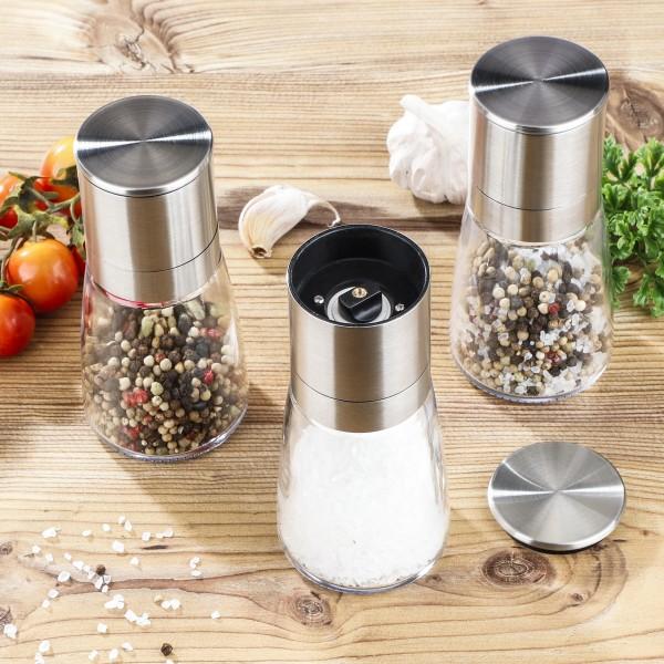 Gewürzmühlen - für Salz, Pfeffer oder Gewürze - Edelstahl - D: 6,5cm, H: 13cm - 3er Set