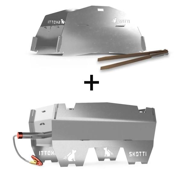 SKOTTI CAP KIT - steckbarer, mobiler Gasgrill mit Deckel Erweiterung - 100% Edelstahl