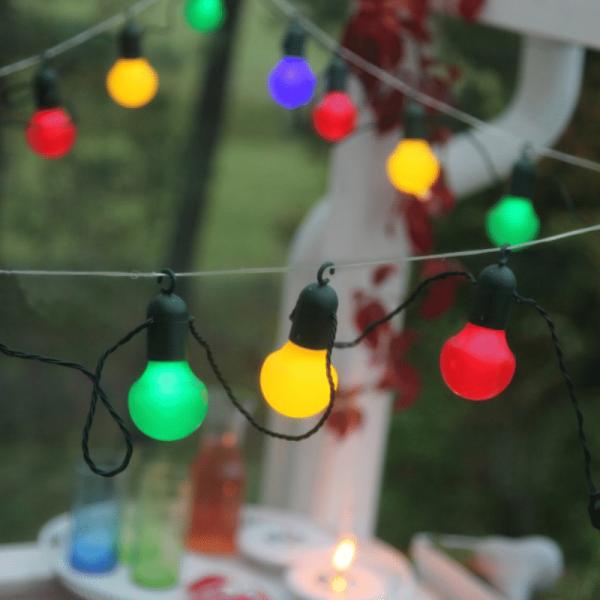 LED Partylichterkette - 20 bunte LED - L: 5,7m - grünes Kabel - outdoor
