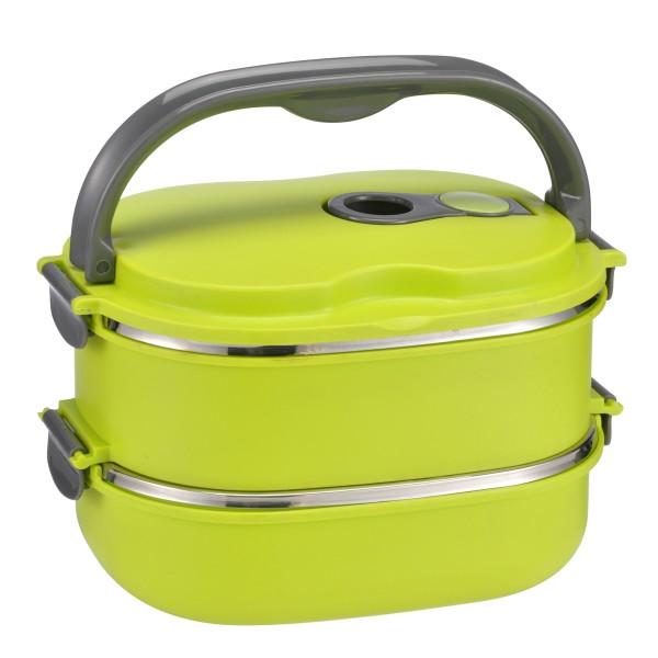 Lunchbox oval - Für warme und kalte Speisen - Innen Edelstahl, außen Kunststoff - 2 x 600ml