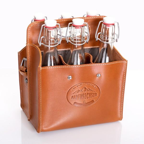 ALPENLEDER Alpensechser - Getränkehandtasche/Halter für 6 Flaschen - stabiles Sattlerleder
