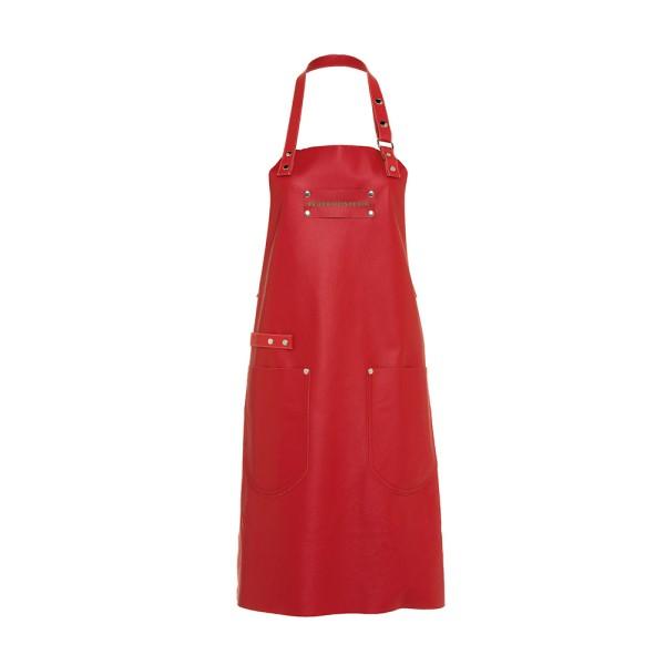 Feuermeisterin Premium Leder Back- und Kochschürze Rot mit 2 Taschen