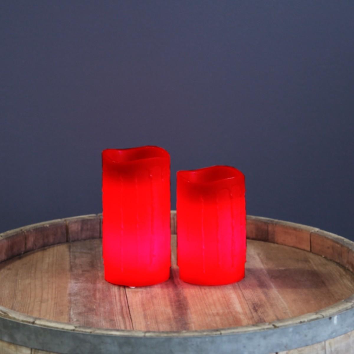 LED Kerze Drip - Echtwachs - flackernde LED - Timer - H: 15cm - rot