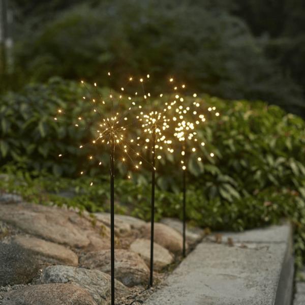 """LED Stäbe 3er Set """"Firework"""" - H: 65cm - schwarz - je 60 warmweiße LEDs - inkl. Outdoor Trafo"""