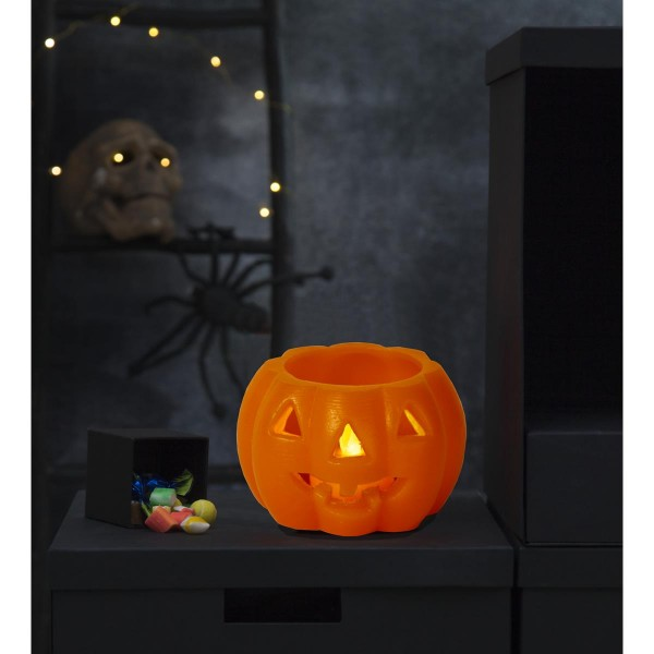LED Kerze/Teelicht Halloween - Kürbis - Echtwachs - gelbe LED - H: 6,5cm, D: 9,5cm - orange