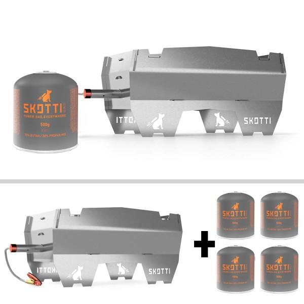 SKOTTI Gasgrill + 4 x 500g Kartusche in SET - ready-to-go #grill.einfach.überall - Edelstahl