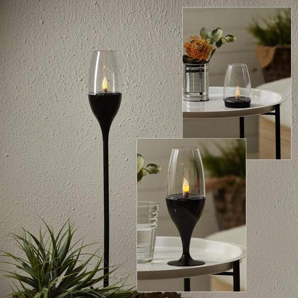 "LED-Solar-Fackel ""Athens"" - Laterne/Glas/Fackel - amber LED - H: 62cm - D: 7,5cm - Dämmerungssensor"
