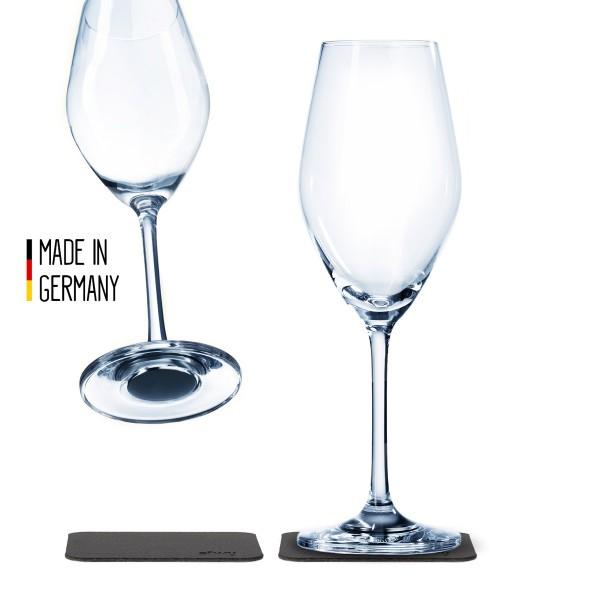 SILWY - Kristallgläser - 2er-Set + 2 Metall-Nano-Gel-Pads - Champagner Gläser