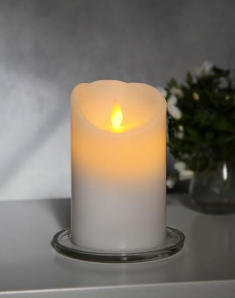 LED-Kerze | Echtwachs | Glim | mechanische Flamme | Timer | ↑13cm | Weiß