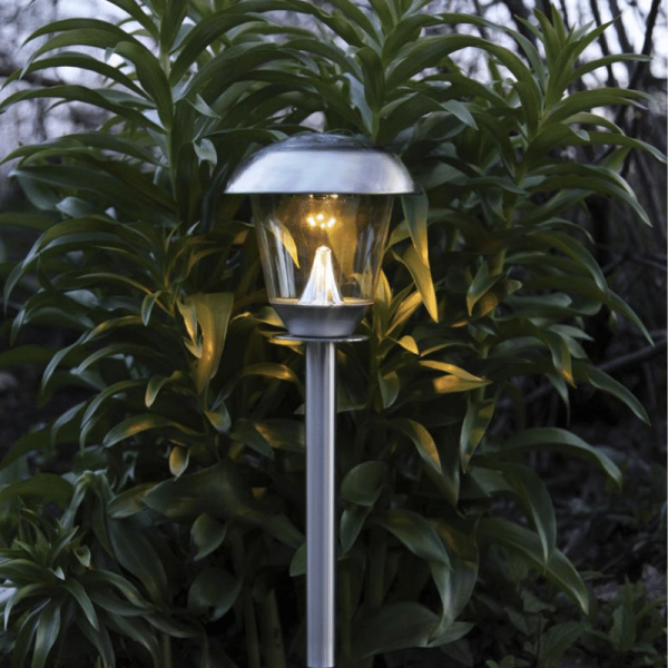 "LED-Solar-Wegleuchte ""Napoli"" - Edelstahl - warmweiße LED - H: 66cm - D: 15cm - Dämmerungssensor"