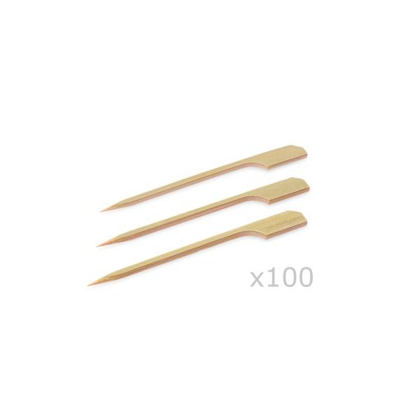 """Holzspieße mit Grifffahne """"PARTY PICKER"""" - 12x0,3cm - 100er Beutel - Bambus"""