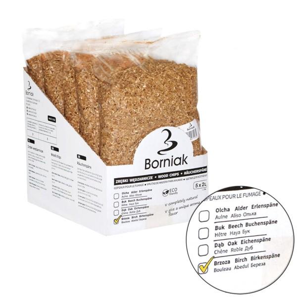 Räucherspäne für Smoker - BIRKE - 2 Liter Packung - HACCP zertifiziert