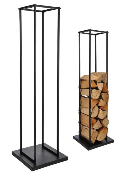 Kaminholzhalter und Stapelhilfe - Metall, pulverbeschichtet - 121cm hoch - 34x34cm Platte