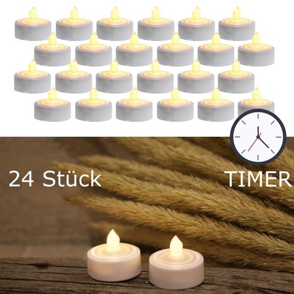 """LED Teelicht 24er Set """"Paulo"""" - warmweiße flackernde Flamme - Batteriebetrieb - Timer - H: 2,9cm"""