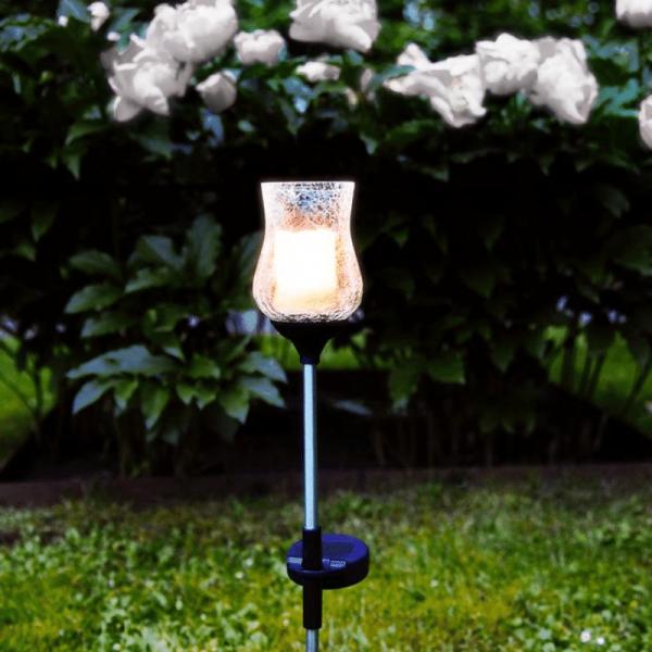 "LED-Solarstab ""Lyon""- amber Glas - gelbliche LED - H: 52cm - D: 7cm - Dämmerungssensor"