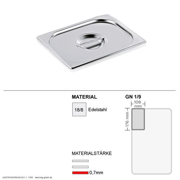 Gastronorm Deckel GN 1/9 -  GN90 - 18/8 Edelstahl - 0,7mm