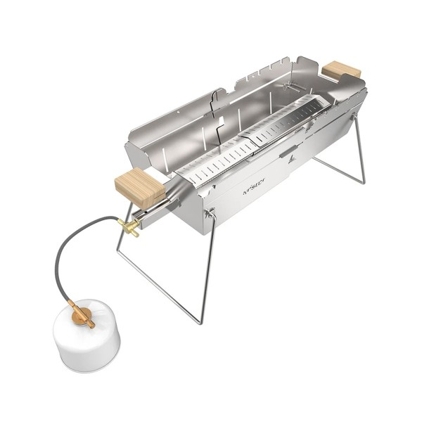 KNISTER Gasgrill EDELSTAHL - ausziehbar - für Kartuschenbetrieb - Made in Germany