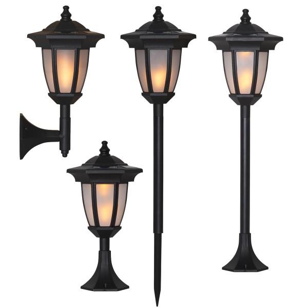 "LED Solar Laterne ""Flame"" - 4in1 - Tisch/Boden/Wand - gelbe LED - Dämmerungssensor - schwarz"