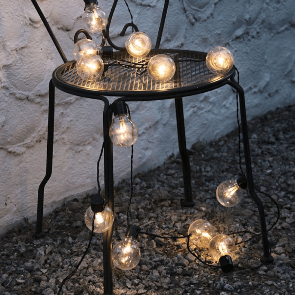 LED Partylichterkette - 16x 2 warmweiße LED - L: 4,5m - outdoor - schwarzes Kabel - transparent