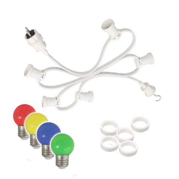 Illu-/Partylichterkette 10m | Außenlichterkette weiß | Made in Germany | 10 x bunte LED Kugellampen