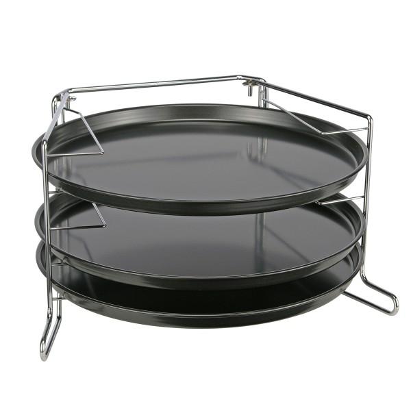 Pizzabackset mit Backofen-Aufsteller und 3 Backformen - Pizzabackformen aus Karbon-Stahl - 4tlg.