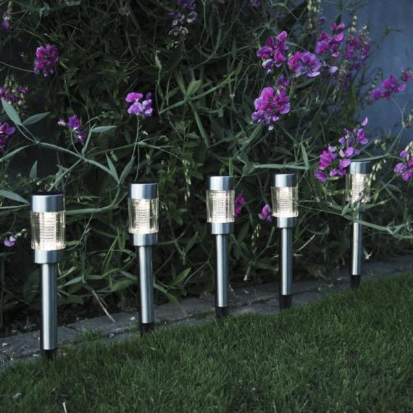 20 x LED-Solar-Laternen - Wegleuchten, Beetbegrenzung- stahl/silber - Dämmerungssensor - outdoor