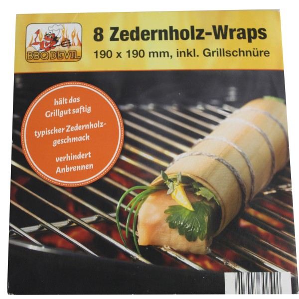 Zedernholz Wraps - 19 x 19cm - Raucharoma - 8er Set