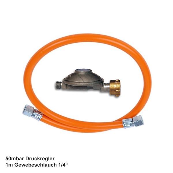"""Universal Gas Anschlusskit 50mbar mit 1m Gewebeschlauch 1/4"""" Innengewinde"""
