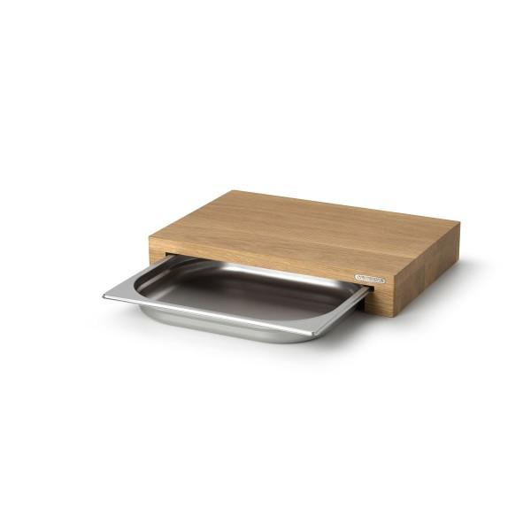 Multifunktionsbrett mit Edelstahl-Schublade, Eichenholz - 39 x 27 x 6cm
