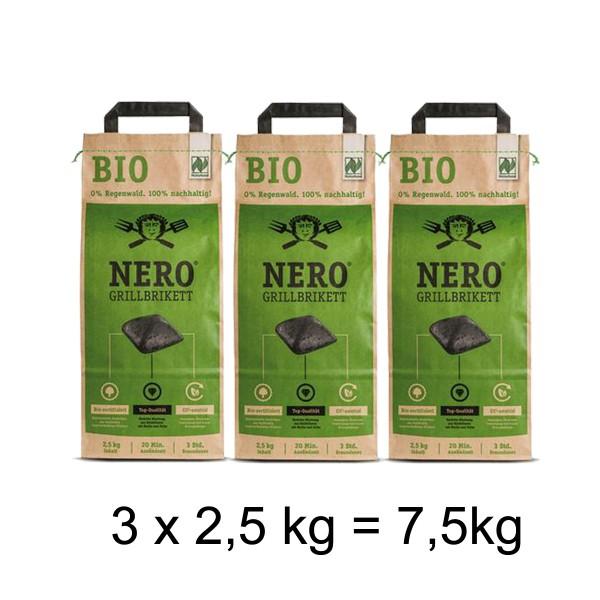 NERO BIO Grill Holzkohle Briketts - 3 x 2,5kg Sack - Garantiert ohne Tropenholz - Holz aus Deutschland