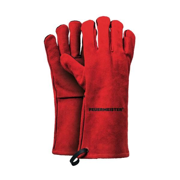 Feuermeister Premium BBQ Grillhandschuhe aus Spaltleder in Rot Größe 12