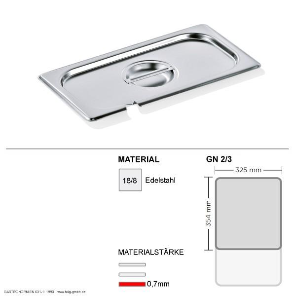 Gastronorm Deckel GN 2/3 - mit Löffelaussparung -  GN90 - 18/8 Edelstahl - 0,7mm