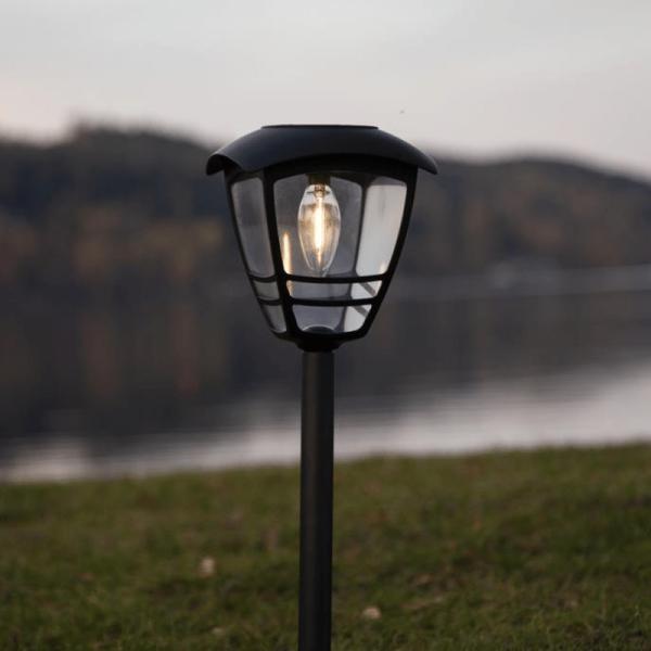 """LED-Solar -Wegleuchte """"Felix"""" - warmweiße Filament LED - H: 45cm - D: 14cm - Dämmerungssensor"""