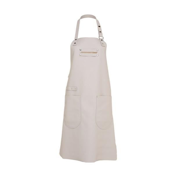Feuermeisterin Premium Leder Back- und Kochschürze Grau mit 2 Taschen