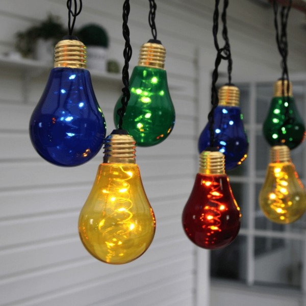 """LED Party Lichterkette """"Glow"""" - 10x5 warmweiße LED - L: 3,6m - Indoor - bunte Glühbirnen"""