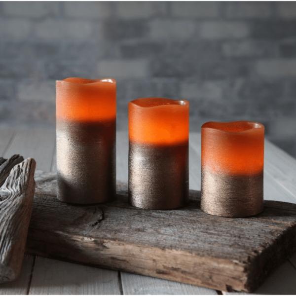 LED-Kerze | Echtwachs | Cooper-Design | statische LED | Timer | Kupfer | →7,5cm | ↑12,5cm