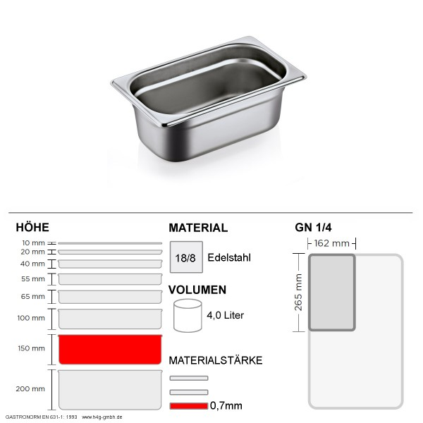 Gastronorm Behälter GN 1/4 - 150mm - GN90 - 18/8 Edelstahl - 0,7mm