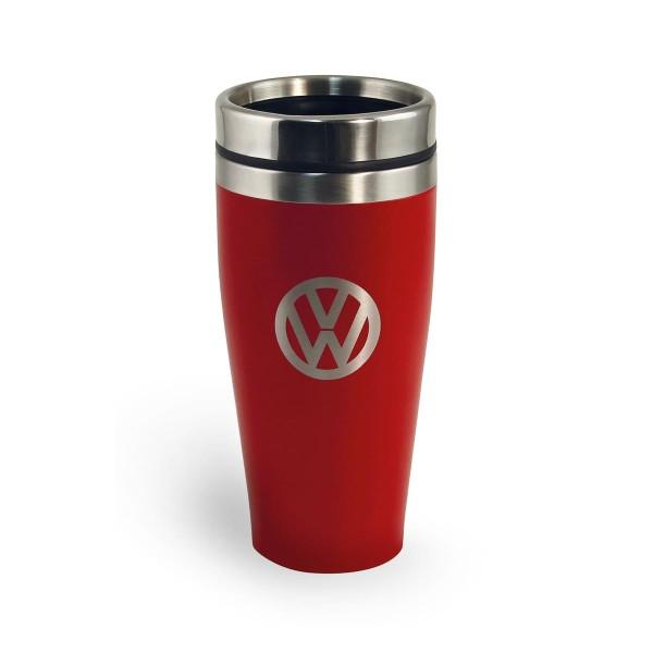 "Thermobecher 400ml ""VW Volkswagen rot"" - Anti-Rutsch Boden - Doppelwandig - 18/8 Edelstahl"