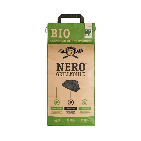 NERO BIO Grill-Holzkohle - 2,5kg Sack - Garantiert ohne Tropenholz - Holz aus Deutschland