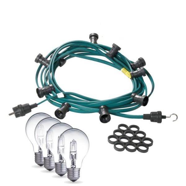 Illu-/Partylichterkette | E27-Fassungen | Made in Germany | mit weißen Glühlampen | 20m | 40x E27-Fassungen