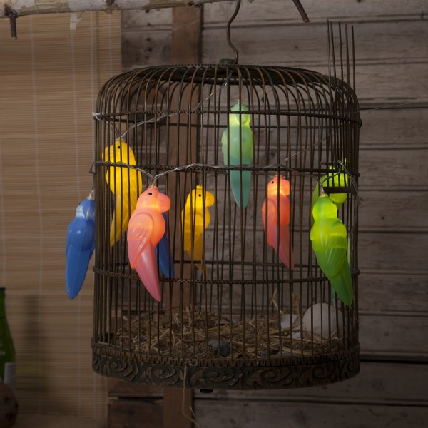 "LED Lichterkette ""Birdy"" - 10 bunte Papageien - warmweiße LED - L: 1,35m - Batterie - Timer 01"