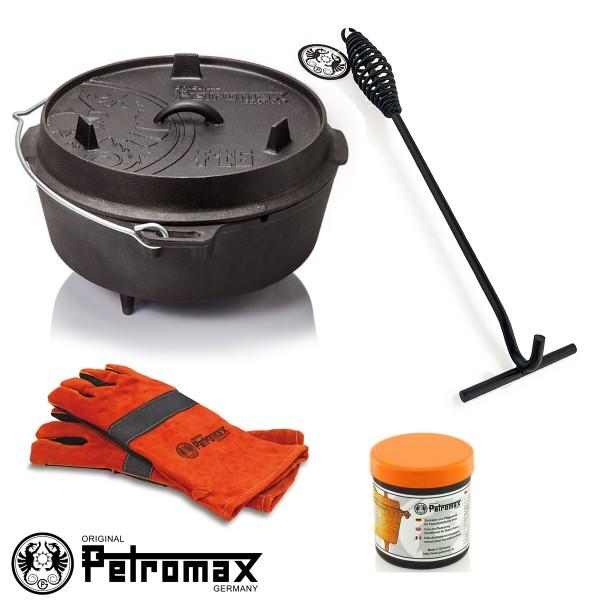 Petromax SET - 7,6 Liter Feuertopf mit Füßen (ft6), Heber/Schürhaken, 2 Feuerhandschuhe, Pflegepaste