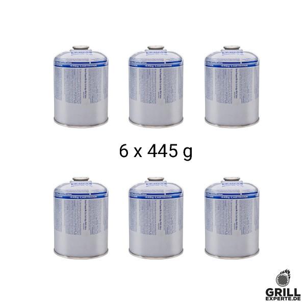CADAC CA445  6er Set - Ventil-Gas-Kartusche  (445g Butan-Propan-Gemisch) - EN417 Gewinde