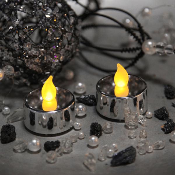 LED-Teelicht | Kunststoff | Mette-Design | flackernde LED | →4cm | ↑4cm | 2er Set