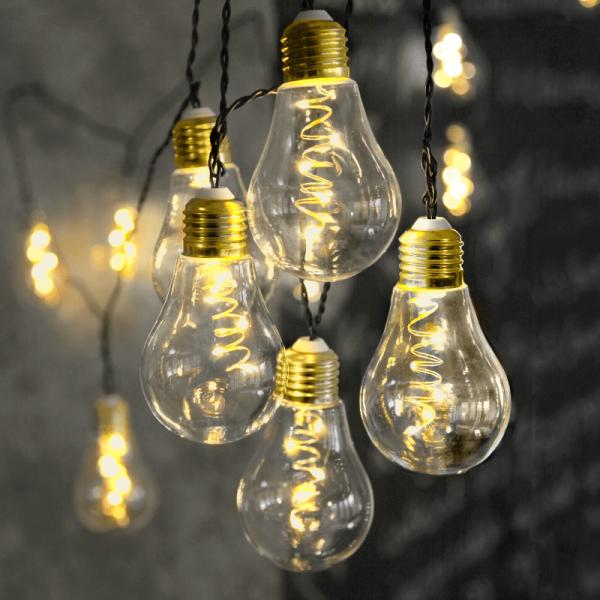 """LED Party Lichterkette """"Glow"""" - 10x 5 warmweiße LED Glühbirnen - L: 3,6m - Indoor - transparent"""